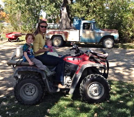 Baby Annika's first 4-wheeler ride (with Talus, Doc, and me)